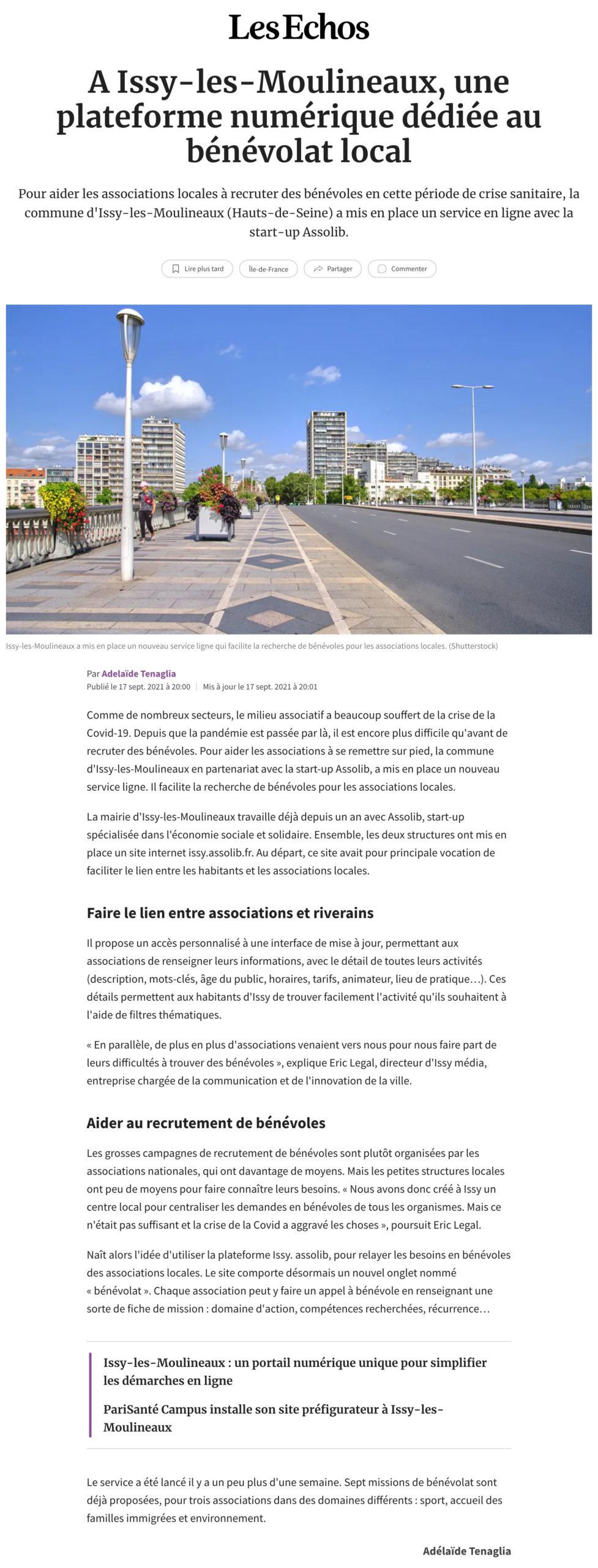 Assolib - A Issy-les-Moulineaux, une plateforme numérique dédiée au bénévolat local - www.lesechos.fr